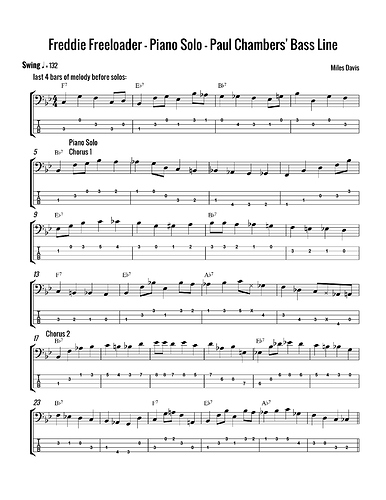 Freddie Freeloader piano solo bass line page 1